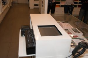 pos system - cash point having an embedded touchscreen, pos receipt printer, scanner, cash drawer and keyboard