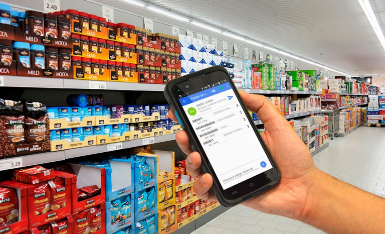 stocked shelves in a retail store for instore shopping, a hand holding a mobile device for online shopping